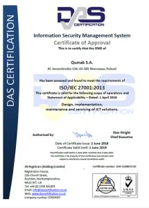 Certyfikat DAS ISO 27001 Qumak