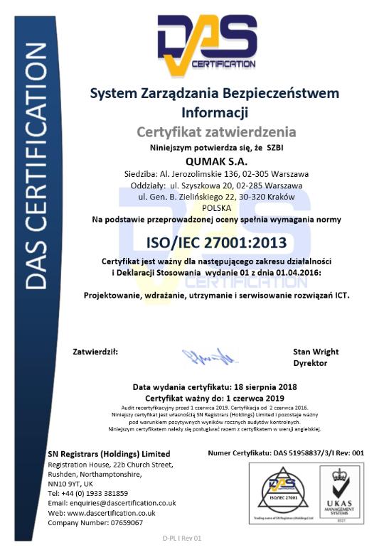Certyfikat ISI/IEC 27001:2013