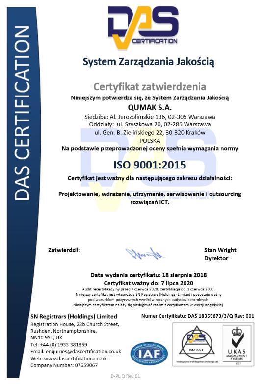 QUMAK - Certyfikat ISO 9001:2015